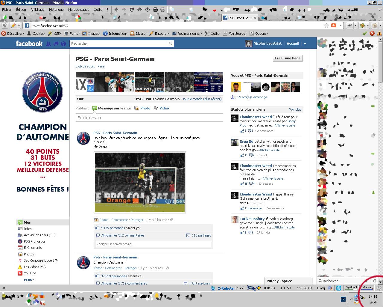 Fan page PSG mais pourquoi ouvrir le wall alors?