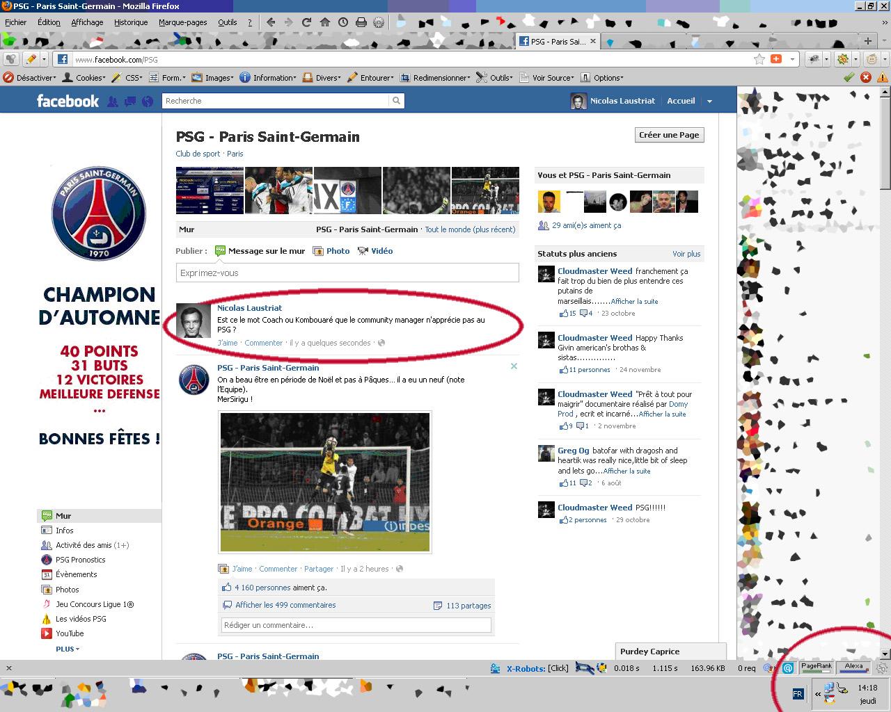 2ème post sur la Fan Page Facebook PSG